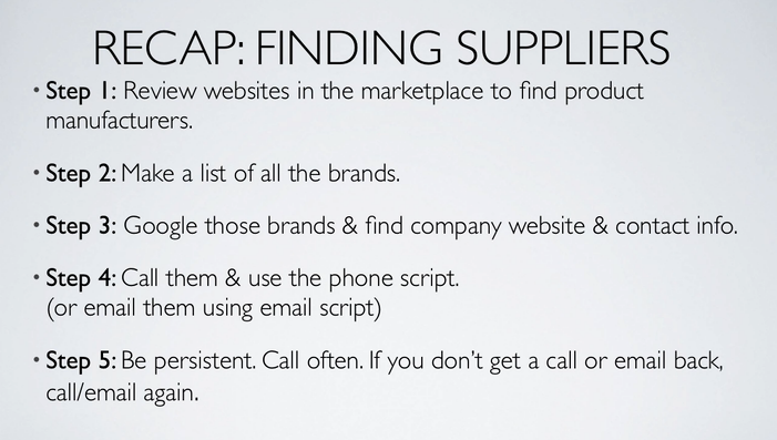 finding a supplier